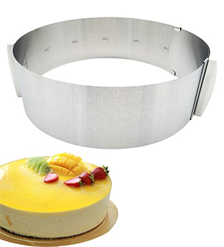 Adjustable Cake Rings, KOOTIPS 6 inch to 12 inch Professional Stainless Steel Food Tower Presentation Cooking Rings -Round Forms