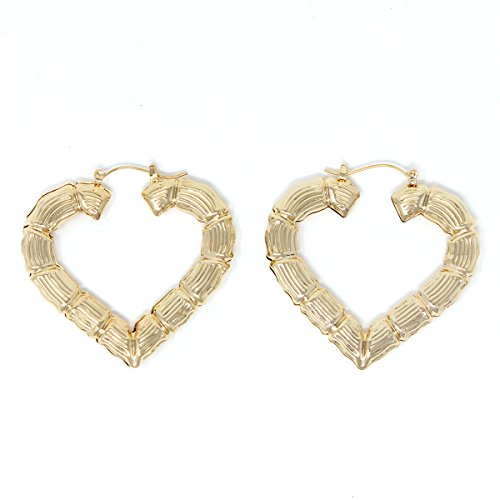 Heart Hollow Casting Bamboo Pincatch Earrings (35 mm, Gold (Bamboo Style Earrings)