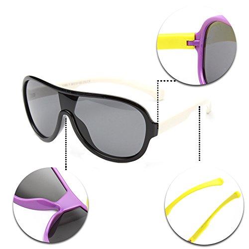 KINDOYO Cool Lunettes de soleil Siamois polarisées pour les Enfants Unisexes Style M