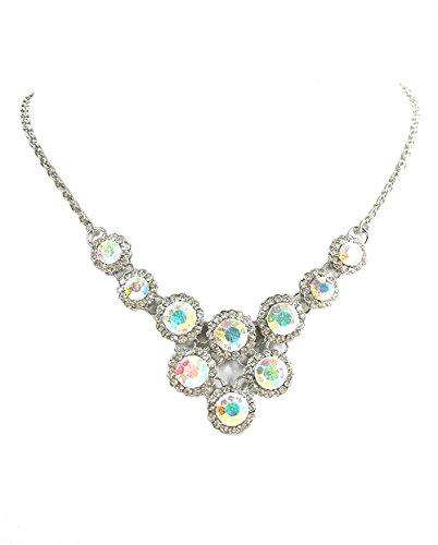 Faship Clear Ab Rhinestone Crystal Necklace & Earrings Set For Bridal Wedding
