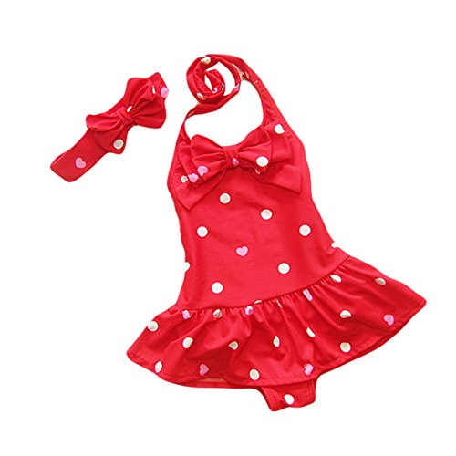 Taiycyxgan Baby Toddler Girls One-Piece Swimsuit Bowknot Spots Swimwear With Headbands,Medium / 3-4 Years,Red
