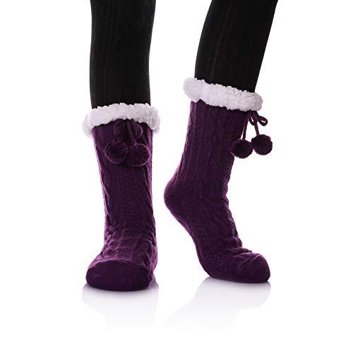 YEBING Women's Diamond Cable Knit Super Soft Warm Cozy Fuzzy Fleece-lined Winter Slipper Socks (Twist Pattern - Purple)
