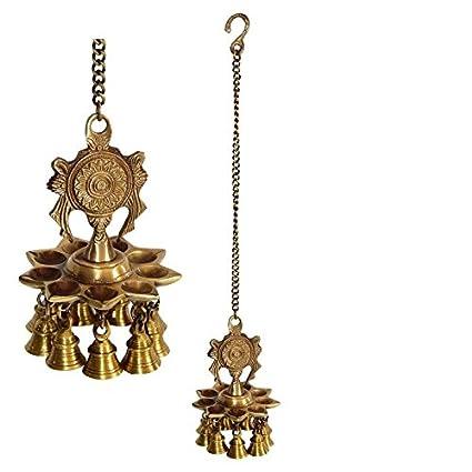 Amazon Com Shrinath Handicrafts Brass Hanging Oil Lamp Kuthu