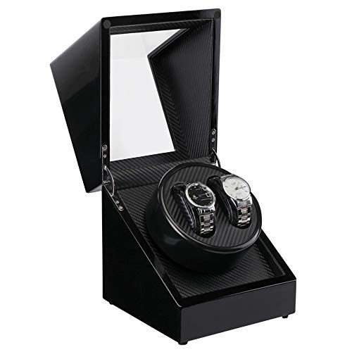 Automatic Double Watch Winder Display Box with Japanese Motor for Rolex Watch, Soft Flexible Watch Pillows, Fit Lady and Man Automatic Watch, AC or DC Powered