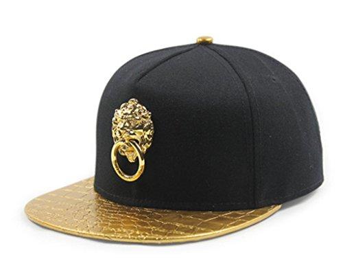 (LEEYA DT01 Punk Door Latch pu Snakeskin pattern Hip hop baseball cap Flat-brimmed hat (Gold))