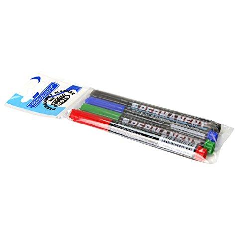 GRANIT Marqueur permanent Lot de 4 Noir, Bleu, Rouge, Vert ogive 2 mm