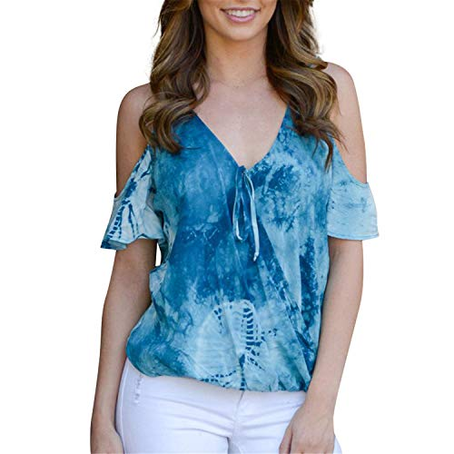 Loosebee Womens Tie Dye Tunics Summer Casual Short Sleeves Tops Flowy Blouses Blue