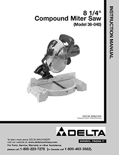 ompound Miter Saw Instruction Manual [Plastic Comb] [Jan ... ()