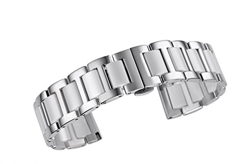 Deluxe Two Tone Ceramic Bracelet Strap for Watches Solid Stainless Steel in Silver and White ()