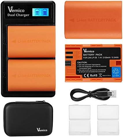 Vemico LP-E6 LP-E6N Battery Charger Pack 2 X 2100mAh Replacement Batteries LCD Type-C Dual Charger for Canon EOS 5D Mark II/7D Mark II/Mark III/Mark IV/5DS/5DS R/EOS 6D/60D/6D Mark II/7D/70D/80D/90D