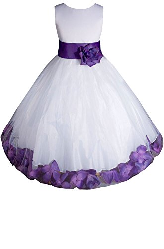 AMJ Dresses Inc Little-Girls' White/Purple Flower Girl Dress E1008 Sz 4 ()