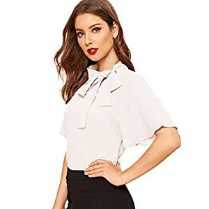 SheIn Women's Casual Side Bow Tie Neck Short Sleeve Blouse Shirt Top