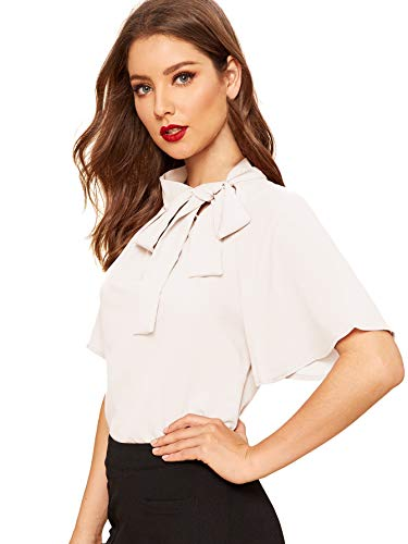 SheIn Women's Casual Side Bow Tie Neck Short Sleeve Blouse Shirt Top Medium White