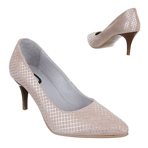 Damen Schuhe, 5453, PUMPS LEDER HIGH HEELS Beige