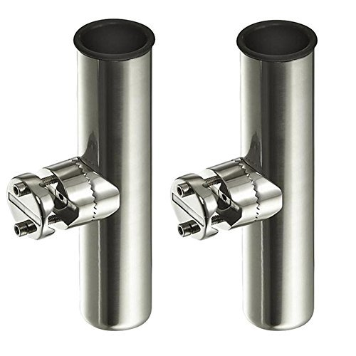 YX MARINE 2 Pieces Clamp On Fishing Rod Holders Stainless Steel Adjustable Rod Holders on Rails Mounting 7/8 to 1
