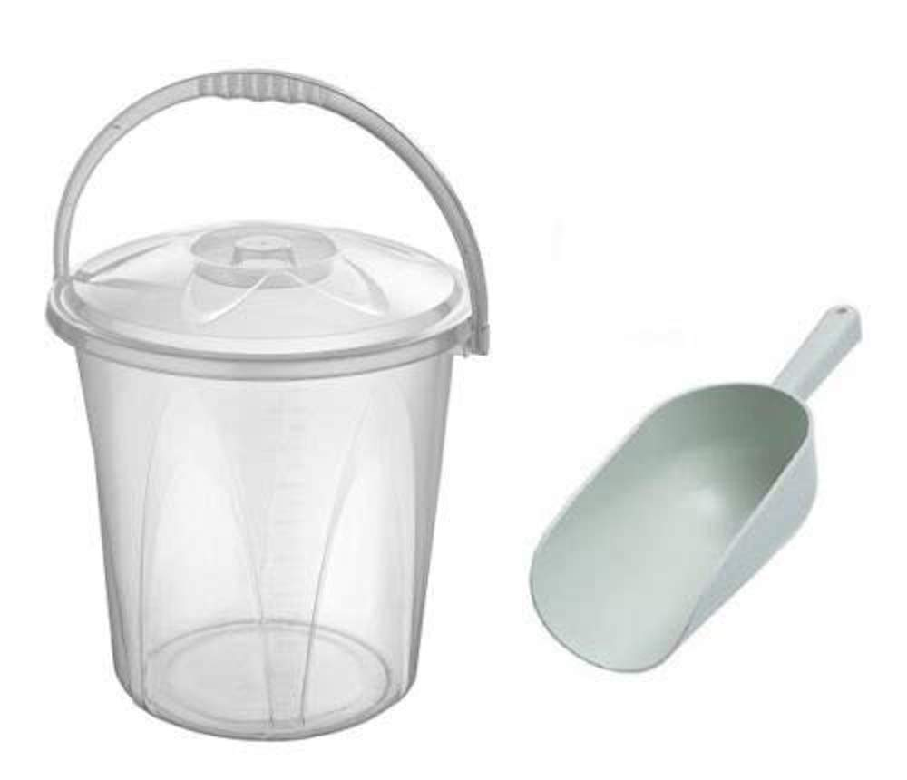 20L Litre Clear Plastic Bucket Ideal for Pet Food/Animal Feed/Wild Bird Seed/Grain / Corn/Storage + SCOOP S&MC Gardenware
