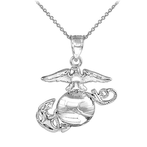 American Heroes 14k White Gold Medium Charm US Marine Corps Military Pendant Necklace, 16