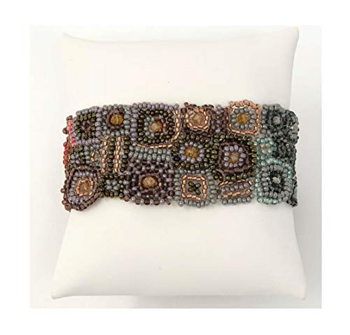 Mayan Arts Handmade, Fair Trade Bracelet Made with Seed Beads from Guatemala, Magnetic Clasp, Two Tone Colors, 1.25 x 6.75 Inches -