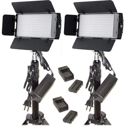 Bescor Led - Bescor Photon Metal Bi-Color On-Camera LED Light with Built-in Barndoors and Digital Display - 2 Light Kit w/Light Stands & Batteries