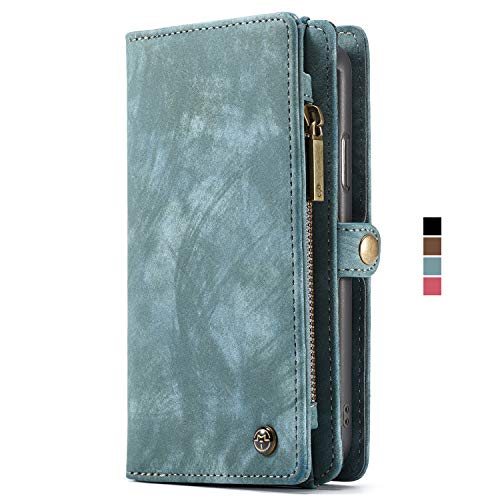 Case Compatible 2018 iPhone XS MAX Leather Wallet Case Flip Cover with Magnetic Removable Slim Back Case Blue