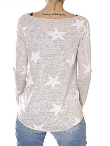 Damen Langarmshirt WLS SIRIUS - von Key Largo - Farbe Beige - mit Sternen-Print - Outdoor - Neues Modell 2017 - leichtes Shirt - Casual Style