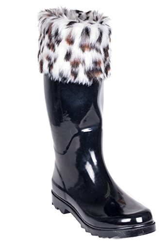Cuff Cuff Cotton Calf Below Mid Fur Knit Sock Faux Tall Women's Rain Ladies Rubber Flat Boots Black Lining amp; Knee W YwCxZzqCR