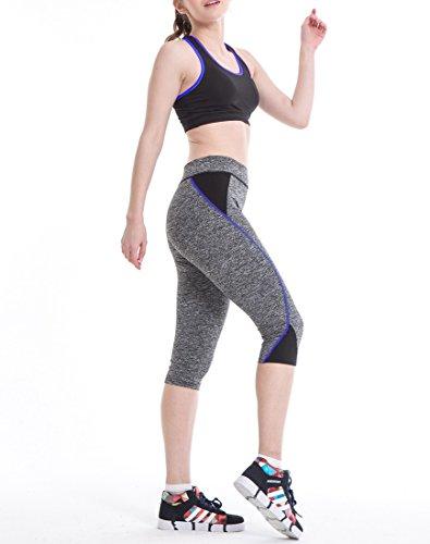 QIYUN.Z Las Mujeres Yoga Gimnasia Gris Alta Cintura Recortada Pantalones De Las Polainas Del Deporte Que Activan Zafiro