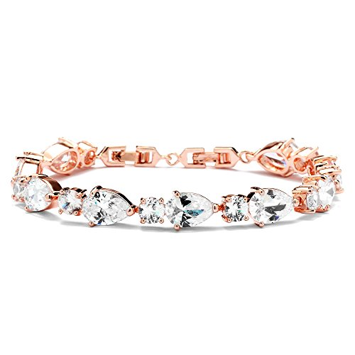 Designer Style Cubic Zirconia Bracelet (Mariell Glamorous Rose Gold Bridal or Special Occasion Bracelet with Pear-Shaped and Round Cubic Zirconia)
