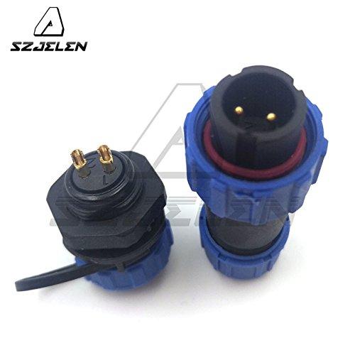 Mount 4 Panel Pin (SZJELEN SP13 2pin/3pin/4pin/5pin/6pin/7pin/ 9pin Waterproof Aviation Connectors Plug Socket IP68 Outdoor Connector (2pin, Panel Mount-Plug(Male)&Socket(Female)))