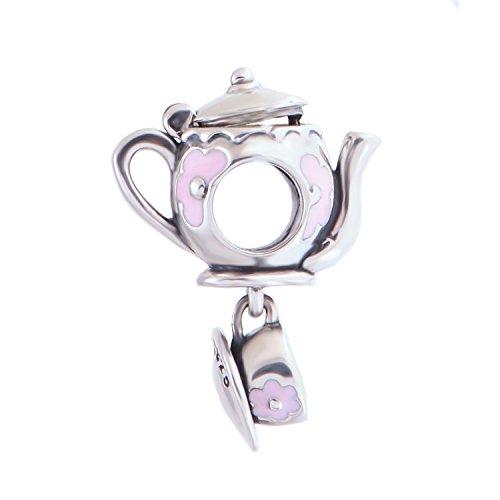 Globalwin 925 Silver Disney Mad Teapot Cup Teapot Set Pink Enamel Charm Fits Pandora Bracelet