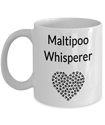 Poo Breeds Dog (Maltipoo Coffee Mug Cute Pawprint Heart I Love My Malti-Poo Dog Themed - The World's Best Mom Dad Paw Print Whisperer Tea Cup Gift)