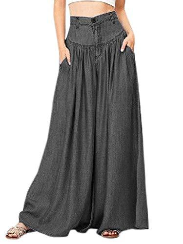 Donna Sciolto Pants Moda Alta Trousers Spiaggia Lungo Pantaloni Da Casual Larga Vita Nero Gamba Quotidiani fashion Simple A 54aA1q06