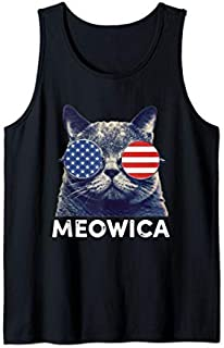 Cat 4th of July s Meowica Merica Men USA American Flag Tank Top T-shirt | Size S - 5XL
