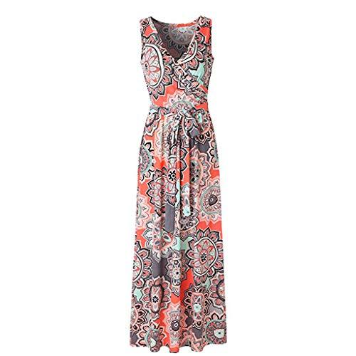 (Floral Print Long Dress for Women, ✔ Hypothesis_X ☎ Sleeveless Maxi Dress Casual Loose Long Dresses Orange)