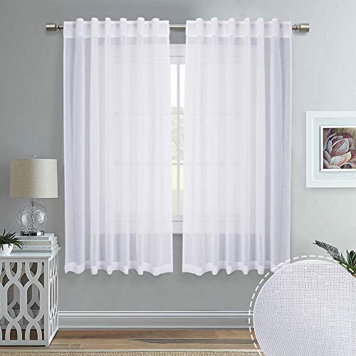 RYB HOME Linen Like White Sheer Curtains, Semi-Sheer Lace with Rod Pockct & Back Tab Headers Hang with Rods/Rings/Hooks, Window Draperies for Kitchen, 55 x 63 inches, 2 Panels