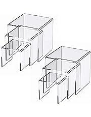 2 Sets Clear Acrylic Display Risers, Jewelry Display Riser Shelf Showcase Fixtures