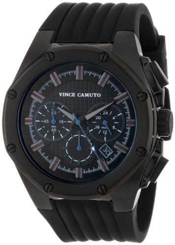 Vince Camuto Men's VC/1032BKTI The Dyver Black Ion-Plated Silicone Strap Chronograph Watch