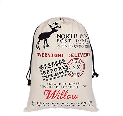 HUAN XUN Custom Name Christmas Santa Sack Willow Best Gifts Bags for Home Familys