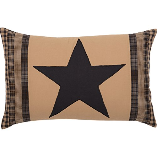 (VHC Brands Primitive Decor Black Check Star Patch Pillow,)