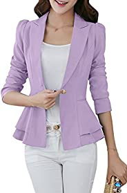 YMING Women's Slim Fit Blazer Lotus Leaf Hem Casual Tunic Office Bl