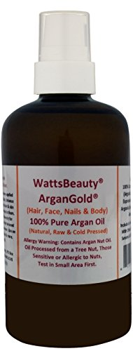 (Watts Beauty ArganGold 100% Pure Argan Oil for Hair, Nails, Face & Body - All Natural Virgin Argan Oil Direct From Morocco- 4oz)