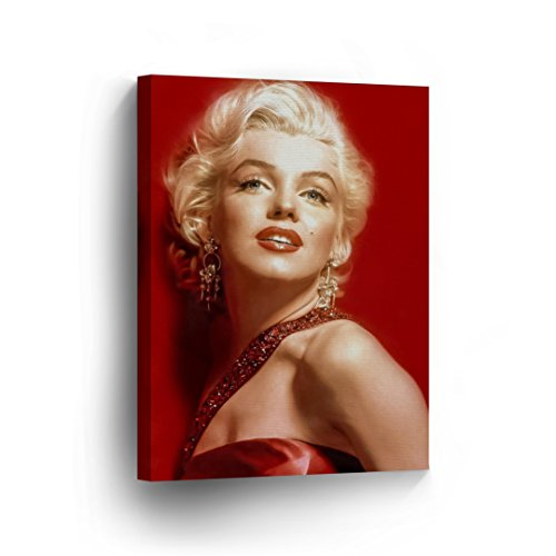 Smile Art Design Marilyn Monroe Wall Art in Red Portrait Print Decorative Art Modern Wall Décor Artwork Wrapped Wood Stretcher Bars - Ready to Hang -%100 Handmade in the USA 22x15