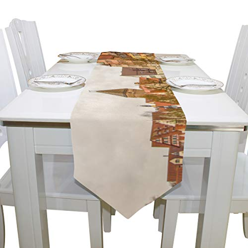 Table Cover Distant Scenery View ULM Cathedral Modern Table Runner Farm Tablecloths for Kitchen Dining Room Coffee Table Decor Table Covers Table Toppers 13x90 Inch ()