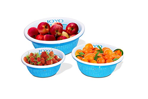 Joyo Fruit Loop 3 Piece Polypropylene Basket Set, Blue