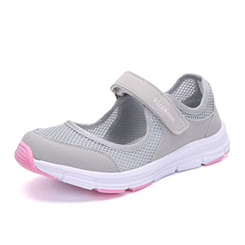 SAGUARO Women's Comfy Breathable Walking Shoes Lady Soft Fashion Mary Jane Sneakers Lightweight Flat Shoes,EU40 Pink and Grey
