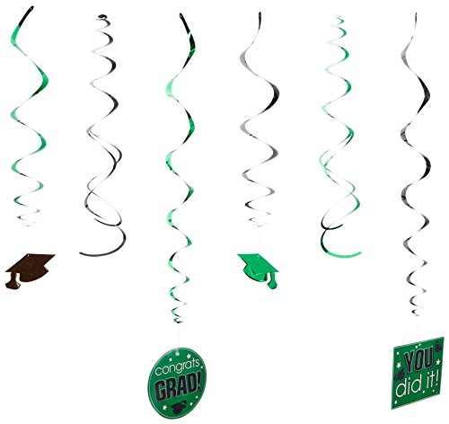 Amscan School Colors Graduation Party Swirls with Hanging Cutouts Ceiling Decorations Value Pack, Green and Black, Plastic, Pack of 12