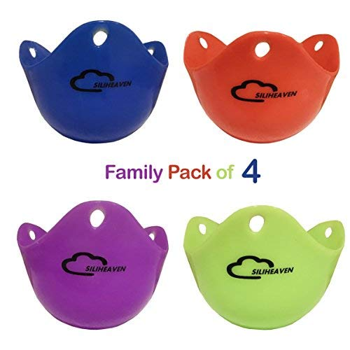 SILIHEAVEN Silicone Egg Poacher Cups- Family Pack of 4 BPA Free Poaching Pods for Cooking Perfect Poached Eggs-Stovetop or Microwace Egg Cooker