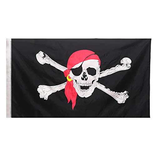 Oniche Pirate Flag-Jolly Roger Pirate Flag 3x5 Foot Polyester Red Scarf Skull Pirate Flag for Pirate Party, Pirate Day, Halloween Pirate Themed Decoration(3x5 Red Pirate Flag) -