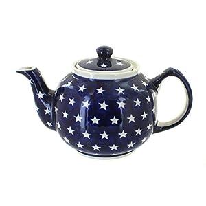 Polish Pottery Boleslawiec Teapot, 1L in STARS pattern