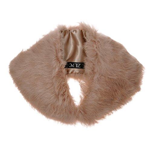 ZLYC Women Classic Elegant Rabbit Fur Solid Color Collar Scarf Shawl Neck Warmer, (Luxurious Camel)